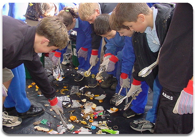 Students sorting waste