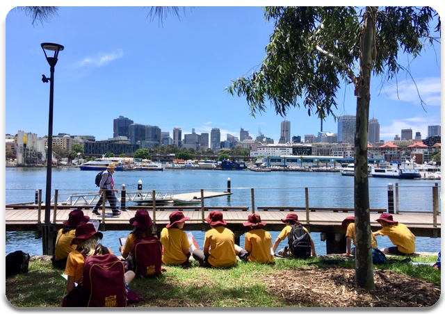 Students observing Blackwattle Bay