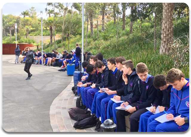 Students studying Barangaroo from the reserve