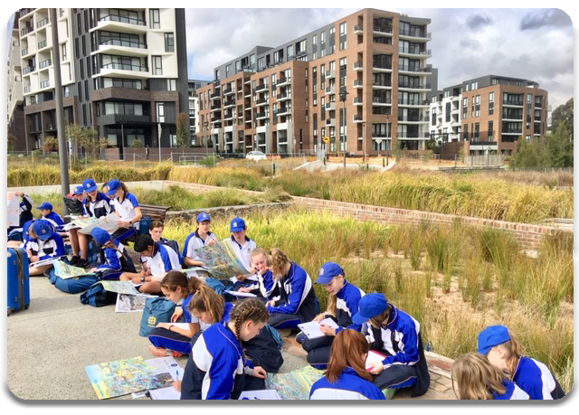 Students studying liveability at Harold Park