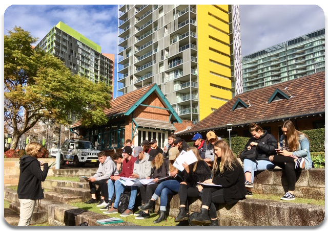 Student's sitting on the old structures at Pyrmont.